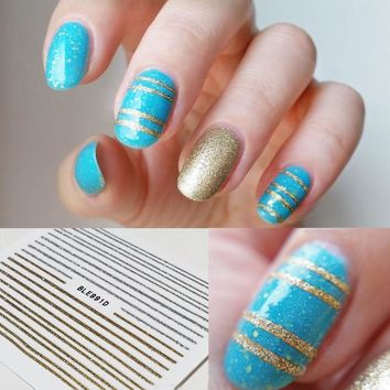 1 Sheet Gold Silver Lines Stickers 3D Nail Art Stickers Ultrathin Lines Nail Tips Stickers
