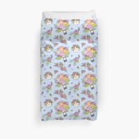 'Flowers and Guinea pig pattern, spring floral Pattern ' Duvet Cover by Miri-Noristudio