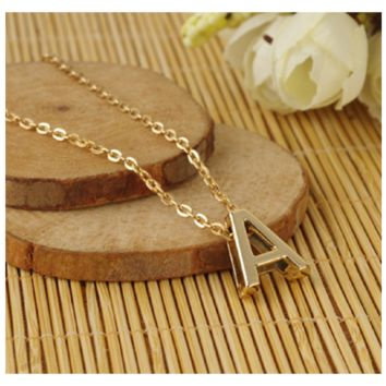 Capital 'A' Letter Initial Chain Charm Korean Style Pendant Necklace