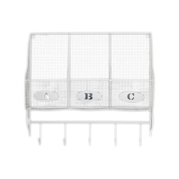 Metal Wall Shelf With 3 Lettered Shelves And 5 Hooks - White