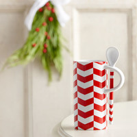Chevron Pattern Mug with Spoon, 8 fl oz