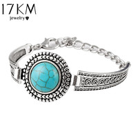 17KM Vintage Jewelry Tibetan Silver Color Carved Round Turquoise Bangle For Women Bracelet Watch Band pulsera brazalete