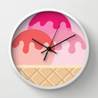 Ice Cream is Cheaper Than Therapy Wall Clock by Sara Eshak