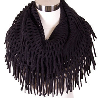 Cozy Fringe Infinity Scarf in Black