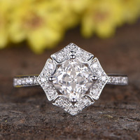 1.3 Carat Cushion Moissanite Engagement Rings Diamond Promise 14k White Gold Art Deco Flower Stacking Band