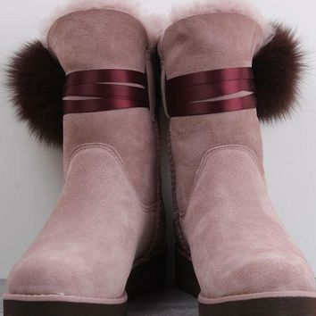 UGG N097 Wedges Tall Ribbon Hair Ball Women Men Fashion Casual Wool Winter Snow Boots Pink
