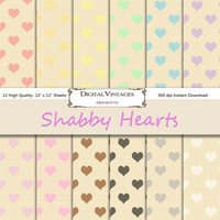 Heart digital paper, shabby digital paper, linen digital paper, pattern digital paper, digital shabby chic, instant download, shabby hearts