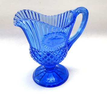 Colbalt Blue Glass Pitcher Syrup Creamer