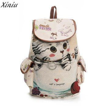 New Women Cute Cat Printing Canvas Drawstring Backpack