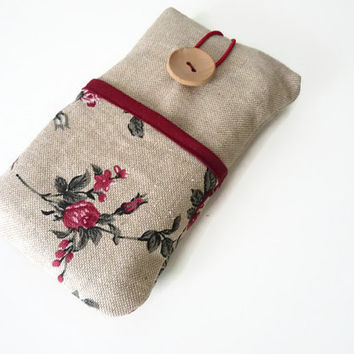 iPhone 6 Sleeve  / iPhone 5S cover / iPhone 6 Plus Case / iPhone 4S / iPod Touch 5g pouch /  android custom case  - Linen roses pockets