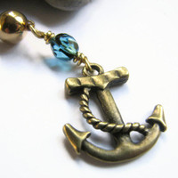 Anchor Belly Button Jewelry, Gold Bellybutton RIng