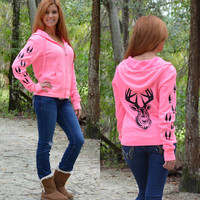 Neon pink Glitter deer head big buck hunting sweater. Womens fashionable hunting cute apparel