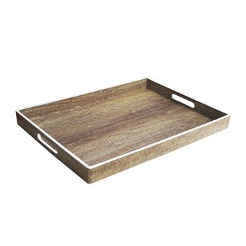 Accents by Jay White and Black Polypropylene Poplar-finish Tray with Rim | Overstock.com Shopping - The Best Deals on Serving Platters/Trays