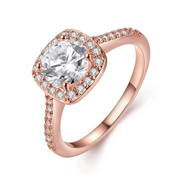 Women s Pretty 18K Rose Gold Plated Princess Cut CZ Crystal Enga 3891d758a