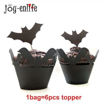 JOY-ENLIFE 6pcs/set  Halloween Cupcake Toppers Bats Pumpkin Spider Cobwebs Food Picks Birthday Party Wedding Cake Decoration