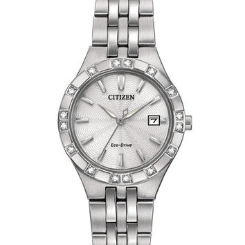 Citizen Eco-Drive Womens Diamond Watch - Stainless Steel - White Dial - Date