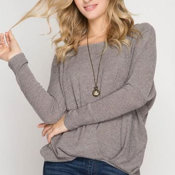 Long Sleeve Ribbed Top with Pintuck Detail - Grey