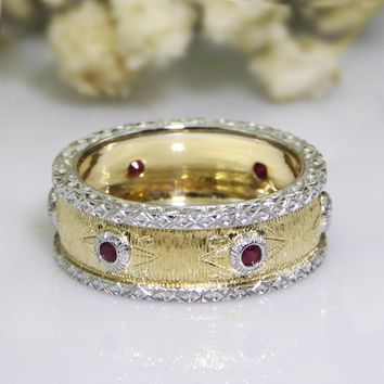 Natural Red Ruby Eternity Band Italian Textured Style Gemstone 0.32ctw Accents 18k Two Tone Gold Wedding Band (CFBLR003)