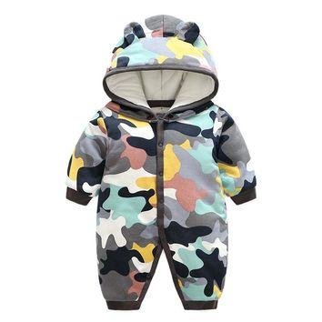 Cute Baby Boy Girl Winter Rompers Hooded Camo Romper Boys  Warm Clothes Costome Kids Jumpsuit Baby clothes set with free shoe