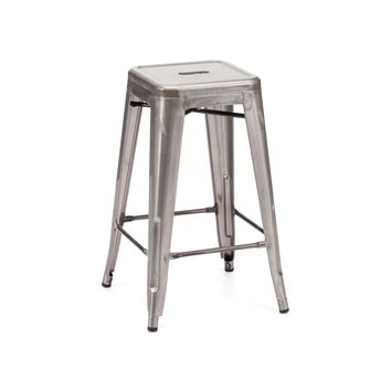 Sundsvall Clear Gunmetal Steel Stackable Counter Stool (Set of 4)