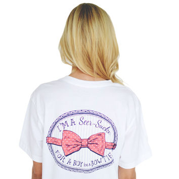 I'm a Seersucker for a Boy in a Bow Tie Tee in White by Lauren James