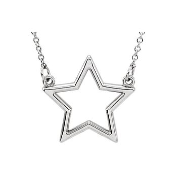 Polished 16mm Star Necklace in 14k White Gold, 16 Inch