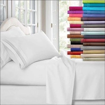 1800 Count 4 Piece Deep Pocket Bed Sheet Set Egyptian Comfort