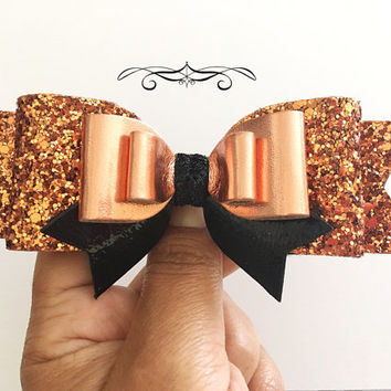 Halloween Bow headband, Big Copper Glitter Bow, Black and Copper Hair Clip,Large Glitter Hair clip,Women Headband, Large Bows