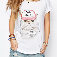 White Kitten Print Short Sleeve Graphic Tee