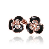 18K Rose Gold Plated Crystal Accent Three Petal Black Enamel Flower Stud Earrings