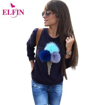 Ice Cream Colorful Plush Ball Sweatshirt Casual Hoodies Long Sleeve Puffer Ball Women Sweatshirts Plush Ball Jumper LJ5230R