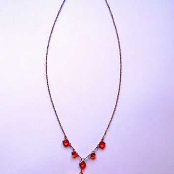 Orange glass necklace / delicate / faceted glass / cut glass / sparkly / beaded / vintage / 60s / silver chain necklace / drop bead pendant