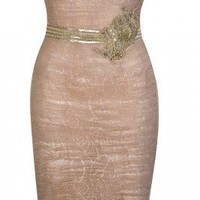 Zuhair Murad Nude Cocktail Dress with Gold Details