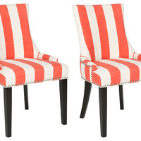 Orange Lester Dining Chairs, Pair, Side Chairs