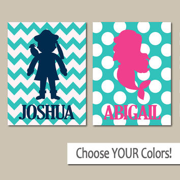 PIRATE MERMAID Wall Art, Boy Girl Personalized Name Artwork, Boy Bedroom Pictures, Girl Bedroom, Twin Boy Girl, Set of 2 Canvas or Prints