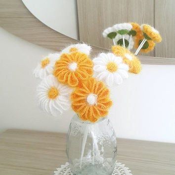 Crochet daisy - Crochet flower Rustic home decor Cottage chic decor Daisy decor New home gift New home ornament New home decor Flower decor