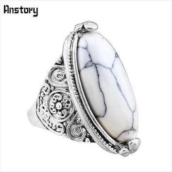 Flower Band Oval Natural Stone Rings For Women Vintage Look Antique Silver Plated 5 Colors Fashion Jewelry Tr362