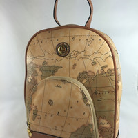Dreaming of Travel Tan Worldmap Backpack Purse