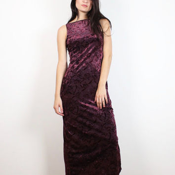 Vintage Velvet Dress 1990s Burgundy Oxblood Red Floral Print Maxi Dress Bodycon Bandage Midi Dress 90s Soft Goth Grunge Maxi Dress S Small M