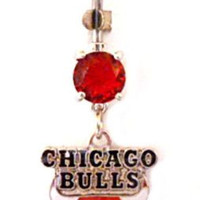 Belly Ring NBA Basketball Chicago Bulls Sports Dangle Naval Body Jewelry