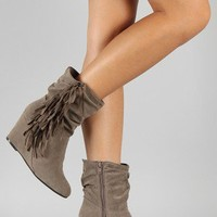 Breckelle Terry-11 Fringe Round Toe Wedge Bootie