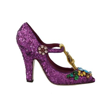 Dolce & Gabbana Purple Sequin Leather Crystal Sandal