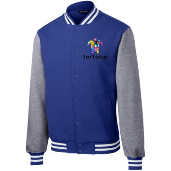 Tortoise Men Fleece Letterman Jacket