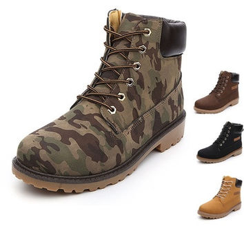 Camouflage Martin ankle snow boots stylish winter men shoes military high top boots british style size 39-44