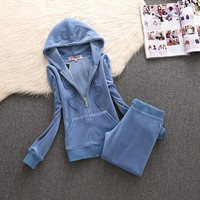 Juicy Couture Simple Pure Color Velour Tracksuit 611 2pcs Women Suits Blue