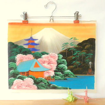 Vintage Japanese Painting on Silk 1950s Mount Fuji Pagoda Temple and River Wall Hanging