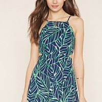 Contemporary Leaf Print Dress