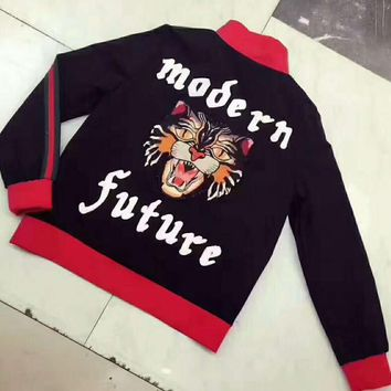 One-nice™ GUCCI modern future letters Tiger embroidery black red Jacket cardigan sweater H-AGG-CZDL