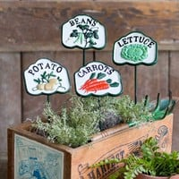Cast Iron Placards Vegetable Patch Garden Stakes Set