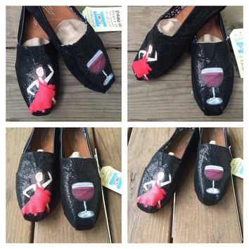 Dancer Emoji Toms Red Wine Emoji Glitter Toms Custom Shoes TOMS Shoes Hand Painted Dancing Lady Emoji Wine Emoji Toms Shoes